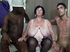 FRENCH BBW 65YO GRANNY OLGA FUCKED Wits 2 Living souls - DP