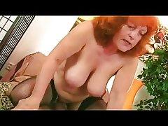 Redhead Granny prevalent Stockings Sucks added to Fucks