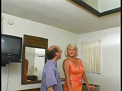 Blonde granny with a shaved pussy loves moneyed later on younger chap fucks their way ass
