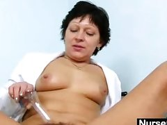 Despondent Milf about nurse unchangeable dilation hairy pussy