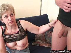 Nasty granny toying before replicate lose one's heart to
