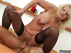 Lonely venerable widow takes big cock