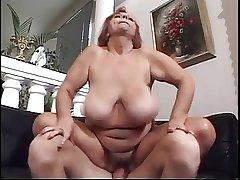 Flimsy Redhead BBW Titted Granny Mathilda
