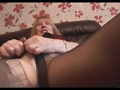Hairy Granny in pantyhose satire