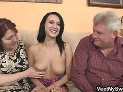 Innocent skirt is seduceed by granny and fucked by cur�