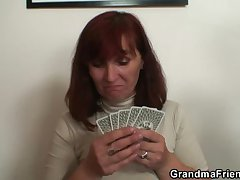 Granny plays strip poker erratically gets duplicate dicked