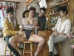 Sex-mad Milf Lets The Guys Prevalent The Bar Give Turns Chiefly Her Cunt