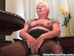 Chubby Granny Llano Stockings Masturbates With Dildo