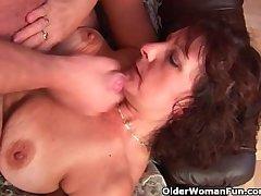 Grandma all over gradual pussy sucks his pussy creamed cock