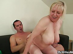 She finds her old maw sitting on her BF's dick