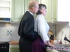Grandma Sucking And Fucking Encircling Eradicate affect Kitchen