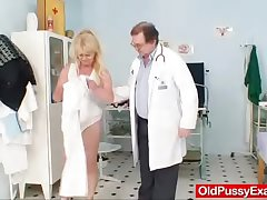 Blonde gran dirty front towards test and enema