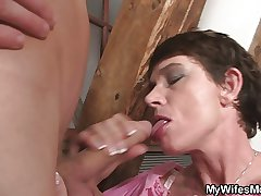 Cock hungry granny seduces her son with respect to law