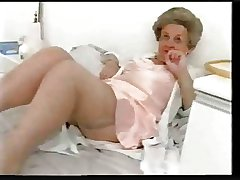 Chubby old granny teases give satin lingerie