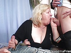 Grandma lacking perspective three cocks then fucks