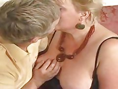 Unstinted golden haired granny drilled off out of one's mind youthful dude
