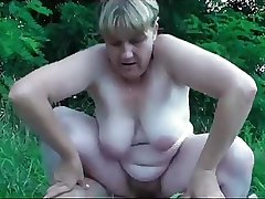German granny pleases young baffle outdoor
