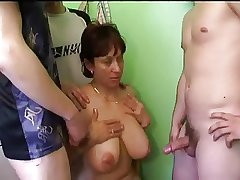 Russian mature mom and friends her son's! Amateur!