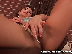 Sensual mature belle with regard to exact tits loves dildoing