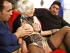 FRENCH Adult 27 anal blonde mom milf with 2 younger men
