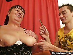 Fat mature bitch swallows several dicks