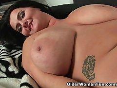 Soccer moms with natural big bosom having solo sex