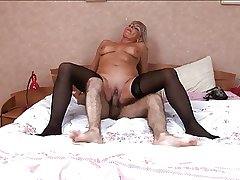 Hot Russian grown up in stockings fuck at bedroom
