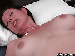 Abundantly rounded milf is toying her mature and Victorian pussy